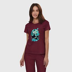 Пижама хлопковая женская Хацуне Мику цвета меланж-бордовый — фото 2