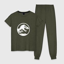 Пижама хлопковая женская Jurassic World цвета меланж-хаки — фото 1