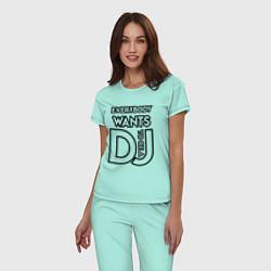 Пижама хлопковая женская Everybody Wants to be a Dj цвета мятный — фото 2