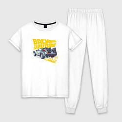 Пижама хлопковая женская Back to the Future цвета белый — фото 1