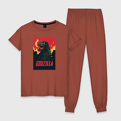 Пижама хлопковая женская Godzilla цвета кирпичный — фото 1