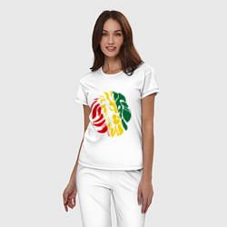 Пижама хлопковая женская Раста лев цвета белый — фото 2