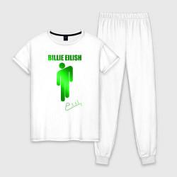 Пижама хлопковая женская Billie Eilish автограф цвета белый — фото 1