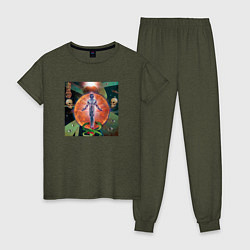 Пижама хлопковая женская GONE Fludd VOODOO CHILD цвета меланж-хаки — фото 1