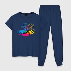 Пижама хлопковая женская Дональд Дак цвета тёмно-синий — фото 1