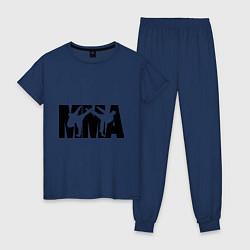 Пижама хлопковая женская Mixed martial arts цвета тёмно-синий — фото 1