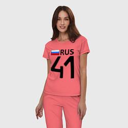 Пижама хлопковая женская RUS 41 цвета коралловый — фото 2