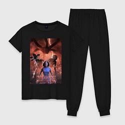 Пижама хлопковая женская Очень странные дела цвета черный — фото 1