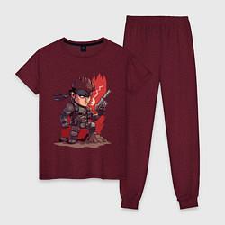 Пижама хлопковая женская Solid Snake цвета меланж-бордовый — фото 1