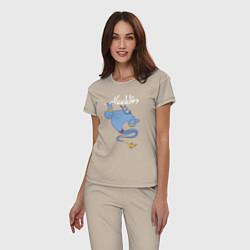 Пижама хлопковая женская Джинн цвета миндальный — фото 2