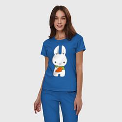 Пижама хлопковая женская Зайчик с морковкой цвета синий — фото 2