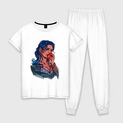 Пижама хлопковая женская Белоснежка цвета белый — фото 1