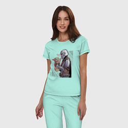 Пижама хлопковая женская Мандалорец и Дитя цвета мятный — фото 2
