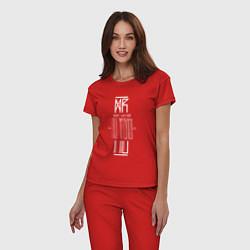Пижама хлопковая женская По Фрейду цвета красный — фото 2