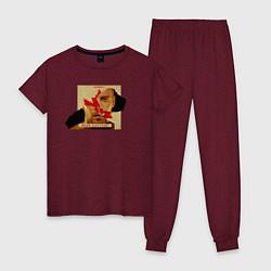 Пижама хлопковая женская Макс Барских: Вспоминать цвета меланж-бордовый — фото 1