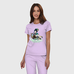 Пижама хлопковая женская Genshin impact Венти цвета лаванда — фото 2