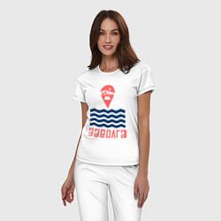 Пижама хлопковая женская Заволга цвета белый — фото 2