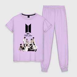 Пижама хлопковая женская BTS цвета лаванда — фото 1