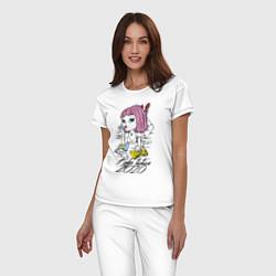 Пижама хлопковая женская Криминальное чтиво 2020 цвета белый — фото 2