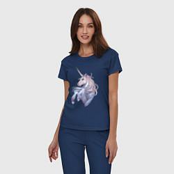 Пижама хлопковая женская Красивый единорог цвета тёмно-синий — фото 2