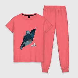 Пижама хлопковая женская Бегущий по лезвию цвета коралловый — фото 1