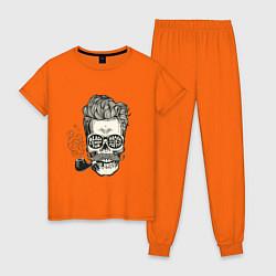 Пижама хлопковая женская Стильный барбер цвета оранжевый — фото 1