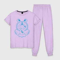 Пижама хлопковая женская I DID IT FOR ME цвета лаванда — фото 1