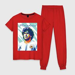 Пижама хлопковая женская Марадона золотой мальчик цвета красный — фото 1