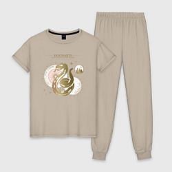 Пижама хлопковая женская Слизерин цвета миндальный — фото 1