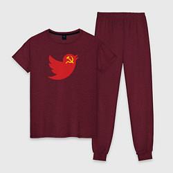 Пижама хлопковая женская Team Trump цвета меланж-бордовый — фото 1