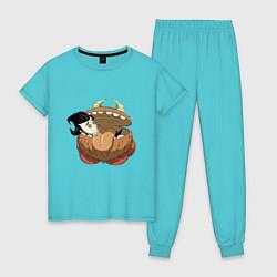 Пижама хлопковая женская Dont Starve цвета бирюзовый — фото 1