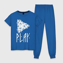 Пижама хлопковая женская Рингерике Play цвета синий — фото 1