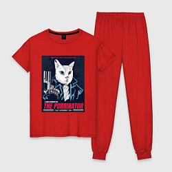 Пижама хлопковая женская Кот Терминатор пародия цвета красный — фото 1