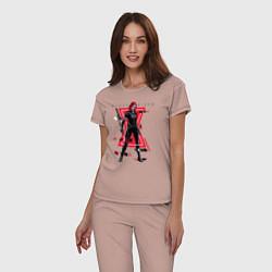Пижама хлопковая женская Black Widow цвета пыльно-розовый — фото 2