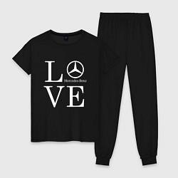 Пижама хлопковая женская LOVE MERCEDES BENZ цвета черный — фото 1