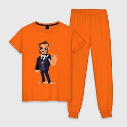 Пижама хлопковая женская ОХРАНА SECURITY Z цвета оранжевый — фото 1