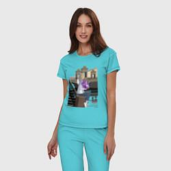 Пижама хлопковая женская БЕЛАЯ НОЧЬ цвета бирюзовый — фото 2