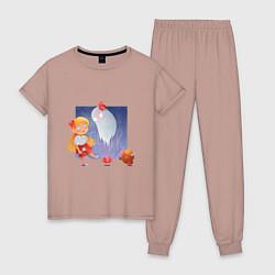 Пижама хлопковая женская Sweet Wendy цвета пыльно-розовый — фото 1
