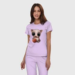 Пижама хлопковая женская Свинка - Баскетбол цвета лаванда — фото 2