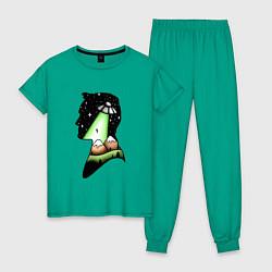 Пижама хлопковая женская Mulder цвета зеленый — фото 1