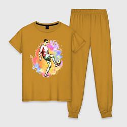 Пижама хлопковая женская Роналду 07 Сборная Португалии цвета горчичный — фото 1