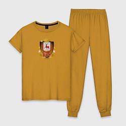 Пижама хлопковая женская Нино800 цвета горчичный — фото 1
