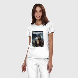 Пижама хлопковая женская Megadeth Poster Z цвета белый — фото 2