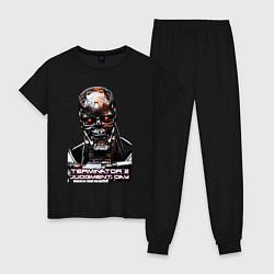Пижама хлопковая женская Terminator T-800 цвета черный — фото 1