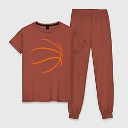 Пижама хлопковая женская Баскетбольный мяч цвета кирпичный — фото 1