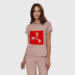 Пижама хлопковая женская Rust цвета пыльно-розовый — фото 2