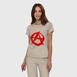 Пижама хлопковая женская Символ анархии цвета миндальный — фото 2