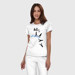 Пижама хлопковая женская The Beatles: break down цвета белый — фото 2