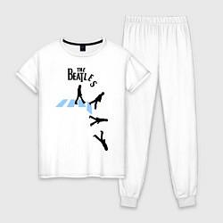 Пижама хлопковая женская The Beatles: break down цвета белый — фото 1