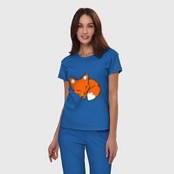 Пижама хлопковая женская Спящий лисёнок цвета синий — фото 2